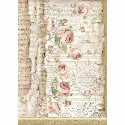 Papel de Arroz A4 Roses and Music - Stamperia