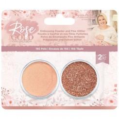 Polvos de embossing oro rosa y purpurina