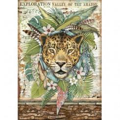 Papel de arroz A4 Jaguar Amazonia de Cristina Radovan-Stamperia