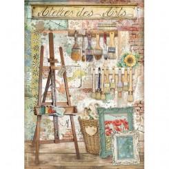 Papel de arroz A4 Caballete Atelier de Sara Alcobendas-Stamperia