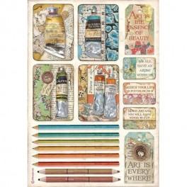 Papel de arroz A4 Tubos de pinturas y lápices Atelier de Sara Alcobendas-Stamperia