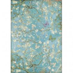 Papel de arroz A4 Fondo azul de flores con mariposa Atelier de Sara Alcobendas
