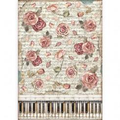 Papel de arroz A3 Rosas y Piano de Passion-Stamperia